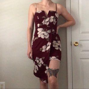 Red Floral Hi-Lo Dress